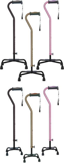 Hugo® Quad Canes, with large or small base