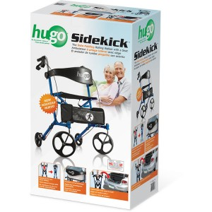 Hugo® Sidekick™ Side-Folding Rollator-Walker with a Seat, Retail box