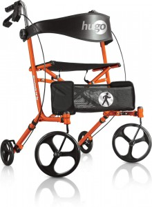Hugo® Sidekick™ Side-Folding Rollator-Walker with a Seat, Tangerine