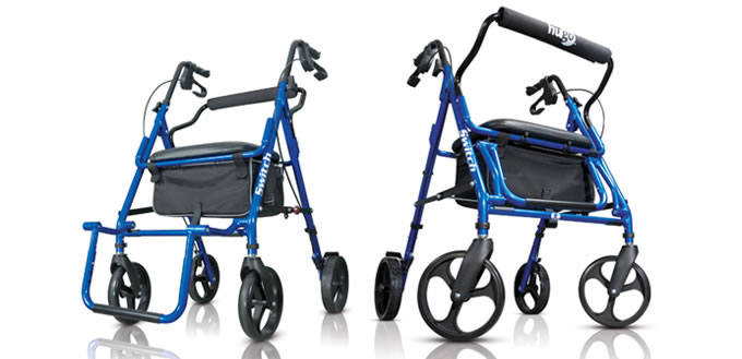 Hugo 174 Switch 2 In 1 Rolling Walker And Transport Chair
