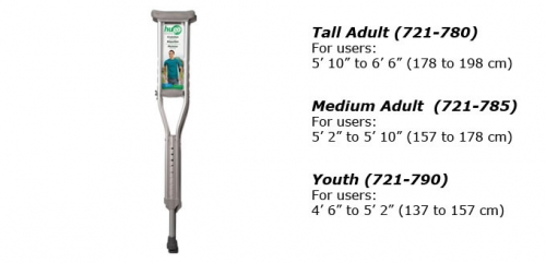 Hugo® Comfort Max Lightweight Aluminum Crutches