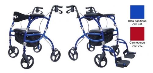 Navigator : combiné ambulateur et fauteuil de transport, de Hugo®, bleu pacifique et canneberge
