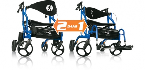 2 dans 1 : Ambulateur et fauteuil de transport