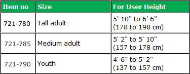 Hugo® Lightweight Aluminum Crutches Specifications