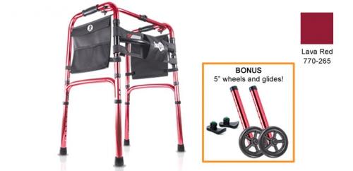 Hugo® Easy-Fold Lightweight Walker, Lava Red